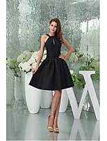 칵테일 파티 드레스-블랙 A-라인 무릎 길이 홀터 넥 태피터