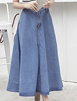 Women's Vintage Causal Solid Denim A-Line Maxi Skirts