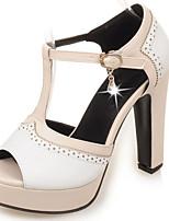 Zapatos de mujer-Tacón Robusto-Tacones / Plataforma / Talón Descubierto / Punta Abierta-Sandalias-Vestido / Fiesta y Noche-Semicuero-