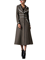 Women's Solid Gray Coat,Simple Long Sleeve Wool