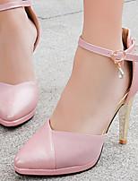 Calçados Femininos-Saltos-Saltos / Plataforma / Bico Fino-Salto Agulha-Rosa / Vermelho / Bege-Courino-Festas & Noite / Social
