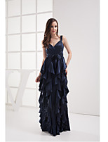 Formal Evening Dress-Dark Navy Sheath/Column V-neck Floor-length Stretch Satin