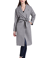 Women's Solid Gray Pea Coats,Simple / Street chic Long Sleeve Wool