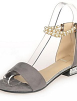 Women's Shoes Leatherette Flat Heel Open Toe Sandals Casual Black / Gray