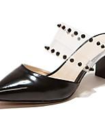 Damenschuhe-Sandalen-Kleid / Lässig / Party & Festivität-Lackleder-Blockabsatz-Absätze / Spitzschuh-Schwarz / Rot / Weiß / Mandelfarben