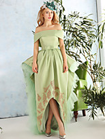 Cocktail Party Dress-Lime Green A-line Bateau Asymmetrical Lace / Satin / Tulle