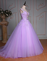 Princess Wedding Dress-Lilac Court Train V-neck Lace / Tulle
