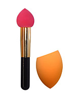 Makeup Sponge Brush Makeup Cotton Brush+Powder Puff (Orange)