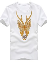 Men's Casual Slim Deer Embroidery Printing Short Sleeve T-Shirt,Cotton / Polyester Casual / Plus Sizes Print