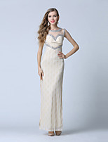 Formal Evening Dress-Champagne Trumpet/Mermaid Scoop Ankle-length Lace / Tulle