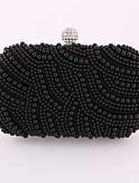 Women Metal / Satin Minaudiere Clutch / Evening Bag / Wallet / Mobile Phone Bag / Checkbook Wallet-White / Black