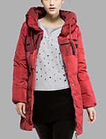 Women's Solid Red / White / Yellow Padded Coat,Simple Hooded Long Sleeve