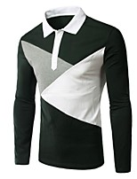 Men's Long Sleeve Polo,Rayon Casual Patchwork
