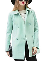 Women's Solid Blue / Green Coat,Simple Long Sleeve Polyester