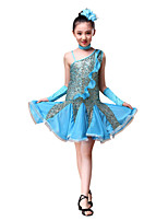 Latin Dance Dresses Children's Performance / Sequined Ruched / Sequins 5 Pieces Red / Yellow / Sky blue