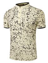 Men's Short Sleeve Polo,Cotton Casual / Formal Print