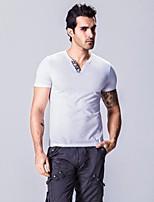 Men's Short Sleeve T-Shirt,Cotton Casual / Plus Sizes Solid