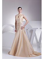 Formal Evening Dress-Champagne A-line High Neck Sweep/Brush Train Taffeta