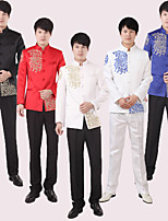 Suits Tailored Fit Mandarin Collar Single Breasted More-Button Polyester Patterns 1
