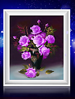 DIY 5D Diamonds Embroidery Purple Rose Vase Magic Cube Round Painting Cross Stitch Kits Diamond Mosaic Home Decoration
