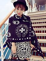 Women Korean Fan Printed Silk Twill  Fringed Cotton Oversized Scarf Beautiful Scarves Purple Shawl