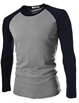 Masculino Camiseta Escritório Patchwork Algodão / Poliéster Manga Comprida Masculino