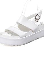 Chaussures Femme-Habillé / Décontracté-Noir / Blanc-Plateforme-Creepers / Bout Arrondi / Bout Ouvert-Sandales-Similicuir