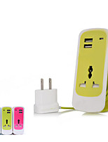 Portable 3-in-1 Travel Power Socket with Dual-USB / 1 x AC Outlet (US Plug)