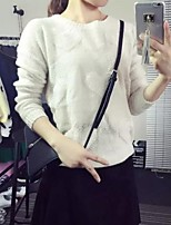 Women's Solid White / Beige Pullover,Simple Long Sleeve