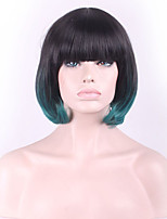 Europe and the United States Wig Black Gradient Green Female Short Straight Hair
