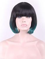 europe et les etats-unis perruque gradient noir vert courte cheveux raides femme