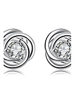 Concise Silver Plated Clear Crystal Round Stud Earrings for Wedding Party Women Accessiories