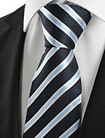 KissTies Men's Striped White Blue Microfiber Tie Necktie For Wedding Party Holiday With Gift Box