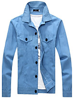 Men's Long Sleeve Casual Jacket,Polyester Solid Multi-color