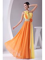 Formeller Abend Kleid-Narzisse / Orange Chiffon-Eng anliegend-Boden-Länge-Ein/Schulter