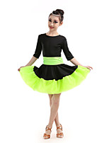 Latin Dance Children's Performance Polyester Color Block Dresses Dance Costumes