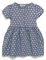Girl's Gray Dress Cotton Summer