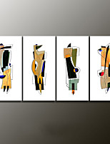 Hand-Painted Abstract Modern Oil Painting , Canvas Four Panels