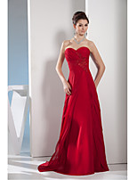 Formal Evening Dress A-line Sweetheart Sweep / Brush Train Chiffon with Appliques / Beading / Side Draping