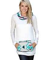 Hoodies Aux femmes Sportif Street Chic / Actif Mosaïque Blanc Coton