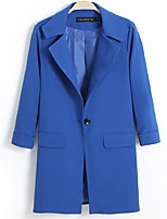 Women's Solid Blue Trench Coat,Plus Size Long Sleeve Polyester