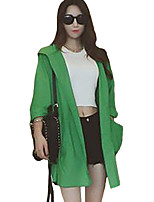 Women's Solid Red / White / Green Trench Coat,Street chic Long Sleeve Polyester