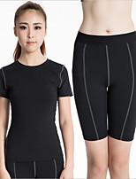 Women's High elasticity Tight Training Exercise Suit Quick-drying Sports Clothing (Short sleeve + Shorts)
