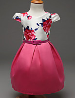 Girl's Pink / Red Dress,Print Polyester Summer / Spring / Fall