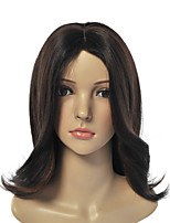 Capless Multi-Color Medium Length High Quality Natural Straight Hair Synthetic Wig with Side Bang