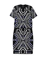 Women's Print Black Set,Street chic Short Sleeve