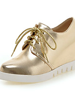 Calçados Femininos-Oxfords-Plataforma / Bico Fino-Plataforma-Preto / Branco / Prateado / Dourado-Courino-Ar-Livre / Escritório & Trabalho