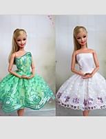Poupée Barbie-Blanc / Vert clair-Informel-Robes- enSatin / Dentelle