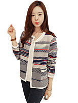 Women's Patchwork Blue Cardigan,Vintage Long Sleeve