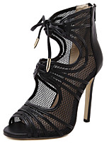 Women's Shoes Tulle Stiletto Heel Heels / Open Toe Sandals Outdoor / Casual Black